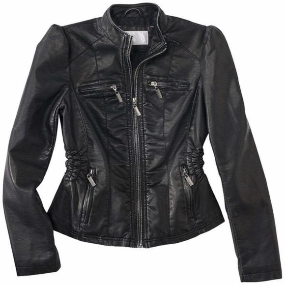 Xhilaration Jackets & Blazers - Faux Leather Puff Sleeve Moto Ruched Jacket SzJrsM